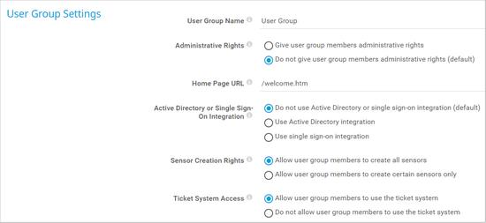User Group Settings